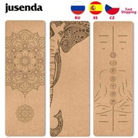 Jusenda 5mm Natural Cork TPE Yoga Mat 183*61cm Fitness Mats Gym Pilates Pad Training Exercise Sport Mat With Position Body Line H0911