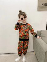 Designer Kids sport sets 2021 fall children leopard cherry printed long sleeve sweatshirt+casual pants 2pcs luxury boys girls leisure outfits A7563