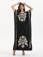 Вискозное волокно Женское платье-повседневное платье экипаж шеи с коротким рукавом свободные Vestidos мусульманский стиль вышивка платья