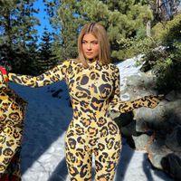 Kylie Leopard Print Sexy с длинным рукавом комбинезон с перчаткой для женской одежды Bodycon Rompers Club Party One Piece Outfits
