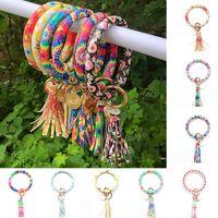 Bangle Boho Style Fashion Trend Large Leather Bracelet Tassel Round Keychain Ring Jewelry Wristban For Women 2021