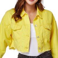 Kadın Ceketler Moda Denim Ceket Bahar ve Sonbahar Sarı Rahat Gevşek Kısa Jean Kadınlar
