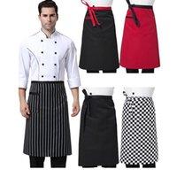 Mutfak önlükleri Yarım uzunlukta uzun bel önlük cepler ile Cook'un catering şefler garsonlar üniforma aşçı dayanıklı mutfağın iş elbisesi giyer