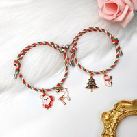 Charm Bracelets NIUYITID Christmas Couple Bracelet For Lovers Magnetic Heart Attraction Each Other Men's Women's Braclet Jewelry Gift