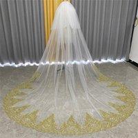 Bridal Weits Real POS Gold кружева 2T свадьба с гребней слоновой кости белый тюль два слоя для невесты 3 метра Velos de Novia
