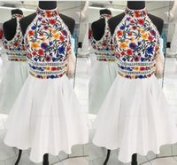 Elegant White Colorful Flower Embroidery 2022 Homecoming Prom Dress Short High Neck Satin A line Mini Quinceanera Graduation Cocktail Dresses