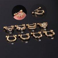 Hoop & Huggie 1PC 20g Gold CZ Star Heart Earrings For Women Stainless Steel Cartilage Conch Ear Piercing Jewelry Puncture