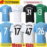 Manchester soccer jersey 21 22 G. JESUS CITY STERLING FERRAN MAHREZ DE BRUYNE FODEN 2021 2022 football shirts MAN uniform men + kids kit with socks