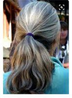 100% Real Hair Human Scrunchie Bollo para arriba Hacer piezas de cabello ondulado rizado o desordenado extensión de cola de caballo plateado gris cabello caballo caballo natural ondulado