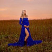 Kadın giyim bir çizgi kirpik yaka dantel split kuyruklu hamile kadın yüzer elbise fotoğraf elbise 1149
