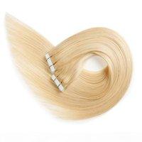 Fita em extensões de cabelo humano branquear loira # 613 longo straight sem costura de trama de pele de pele invisível invisível dupla fitas reais cabelo 50g 20 pcs