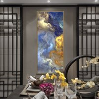 Cores abstratas de Wangart Cores Unreal Poster Azul Paisagem Arte Da Parede Pintura da Sala de Visitas Pendurar Modern Art Impressão pintada 110 V2