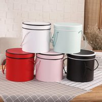 Gift Wrap 5Pcs Artificial Flower Round Lid And Tray Cardboard Cap Hug Bucket Storage Box Packing Wedding Candy