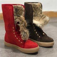 Frauen Booties Winter Schnee Stiefel Echte Rubbits Pelzstiefel Leder Schneeschuhe Mode Schuhe Lace Up Casual Wildleder Pelzstiefel Top Qualität mit Box