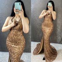 Vestidos de noite de sereia espumante com halter sem encosto Plus size escuro lantejoulas de ouro mulheres formal vestidos de festa do oriente médio dubbai estilo árabe