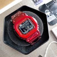 Hot GMW-B5000 Досуг Спорт Спорт Унисекс Смотреть Светодиодные Цифровые Водонепроницаемые Часы Мировое время Холодный свет Многофункциональные квадратные Часы