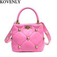 Rivet Leather Handbags 2021 Women's Brand Classic Hand Bag Top Handle Totes Luxury Wide Strap Crossbody Women Satchels