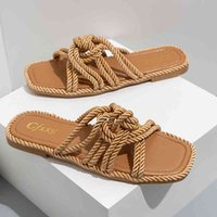 Sandals Women's sandals with loose rope and transparent mesh, low-cut slippers high hemp heels, casual design for women, low-heel shoes 18E5