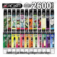 Orijinal Aokit Lux Tek Kullanımlık Pod Cihaz Kiti Işık Sürümü 2600 Puffs 1350mAh Pil 8.5ml RGB Işık Kalem 100% Otantik Ile Tercih Edilen Vape