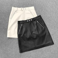 Hot Fashion women' s genuine leather mini Skirts 2021 Sp...