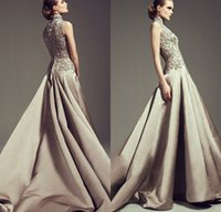 Floor Length High Neck Saudi Arab Ashi Studio Formal Evening Dresses 2017 Beaded Lace Appliqued Long Formal Evening Gowns