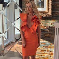 Robe de bandage sexy octestrade 2021 nouvelles femmes orange profonde veaux veaux vesillots élégants robes de bandage de bandoulière boulon sommaire