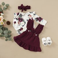 Euro American Girl Baby Clothing Set Full Flowers Print Long Sleeve Romper + Skirt Kids clothes Casual Two Piece sets