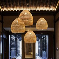Pendant Lamps Modern Hand Woven Straw Hat Llights Vine Art Living Room Decoration Ceiling Lamp Kitchen Accesories Hanging Chandeliers