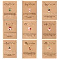 سلسلة عيد الميلاد النفط يقطر سانتا كلوز ثلج قلادة متمنيا اللوحة ورقة بطاقة قلادة بالجملة