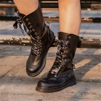 Boots Winter Women Mid-Calf Ladies Round Toe Low Heels Punk Riding For Females Lace Up Fashion Motorcycle Shoes 9725