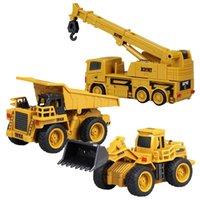 Mini RC Truck Excavator Controle Remoto Trator Modelo 4-Channel Bulldozer Crane Camião Remoto Controle Remoto Brinquedos para Crianças