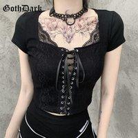 Goth oscura malla patchwork gótico camisetas vendaje frontal negro punk mujeres cultivos tops bodycon de manga corta con cuello en V sexy camiseta 2021