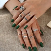Cluster Rings Boho Midi Finger Set For Women Punk Eye Flower Hollow Out Sliver Knuckle Jewelry Gift