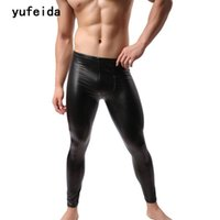Vêtements de nuit pour hommes Yufeida Fashion Marque Hommes Pantalon long Pantalon Pouch Collier Pantalon de danse Muscle Collants Leggings Black Costoume Clubwear