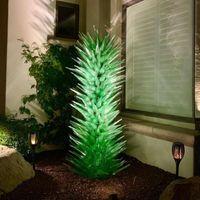 Murano Floor Lamps Garden Art Decoration Green 60 by 200 cm Blown Glass Flower Trees Sculpture for Villa Home Hotel