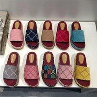Diseñador mujer hombres zapatillas de lujo plataforma sandalias bordado alfabeto zapatilla verano triinas de playa moda gruesa fondo de sandalia con bo anl
