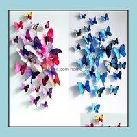Magnete Dekor GardenWoSale 3D Schmetterling Wandaufkleber 12pcs Abziehbilder Dekor für Kühlschrank Küche Wohnzimmer Dekoration Drop Lieferung 2