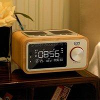 Altavoces portátiles 10W Home LED Screen Reloj de alarma FM Radio Estéreo Altavoz Bajo Subwoofer Retro Inalámbrico Pequeño Madera Bluetooth Altavoz