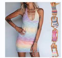2021 мода дизайн женской бычной шеи без рукавов вязаный радуга градиентное цветное свиное платье XSSMLXL