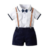 Clothing Sets 1-3 Years Old Fashion Kids Boy Gentleman Suit Short Sleeve Shirt+Overalls 2Pcs Clothes Outfits Tuxedo