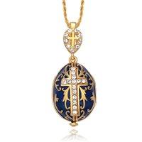 سخونة المجوهرات المينا اليدوية عيد الفصح يسوع الصليب faberge البيض قلادة سحر الكريستال حجر الراين قلادة ثقب هدية للنساء