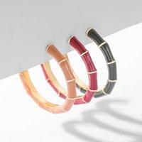 خمر الخيزران c شكل معدني رقيقة هوب القرط المرأة بسيطة المينا هندسية بيان أقراط ملونة الأزياء والمجوهرات الكورية