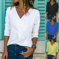 5XL Women's Lent T-shirt Casual Sexy Cross V-neck T-shirts Fashion Woman 2020 Women's shirts Camiseta Women's New Tops plus Size