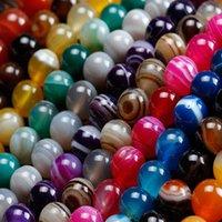 8mm naturlig färg stripe agat pärlor runda stenpärlor för smycken gör DIY armband halsband onyx pärla 369 t2