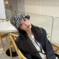 Ampio cappello da corn Temperamento del designer del sud-coreano è un cappello da pescatore della secchiello di stampa zebra