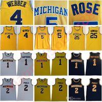NCAA Michigan Wolverines 5 Jalen Rose Jersey Chris Webber 4 Juwan Howard 25 1 Charles Matthews 2 Jorda Poole College Basketball Gelbe Männer