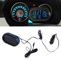 Schreibtischtischuhren 2 in 1 12V / 24V Digital Auto Auto + Batterie Voltmeter Spannungsmessgerät Tester Monitor Elektronische Uhr