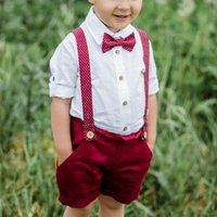 Clothing Sets 1-6Y Handsome Toddler Boy Two Pieces Clothes Set Long Sleeve Shirt Suspender Shorts Suit For Kids Party Occasion Wear