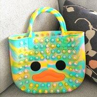 Fashion Cute Bag Pops Fidget Toys Push Bubble Stress Reliever Rainbow Simple Dimmer Anti stress Children Sensory Toys Handbag Tote FY3269