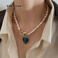 Yikuf88 S925 Стерлинговые серебро Женщины Старинные Натуральные Жемчужины Синяя Любовь Геометрические Барокко Женское Ожерелье